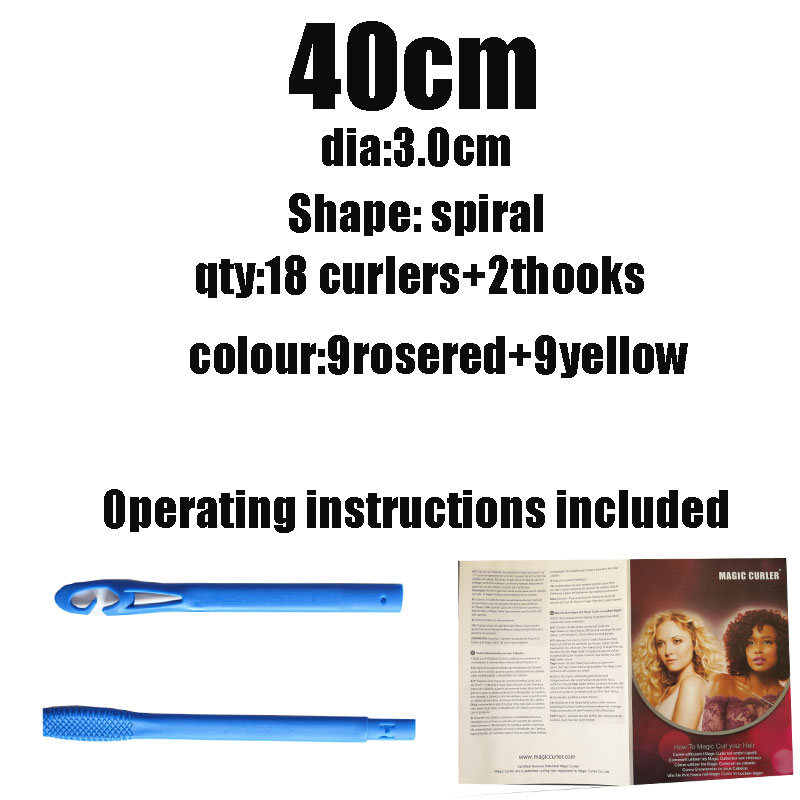18pcs diameter 3 cm quality plastic spiral magic hair rollers no heat curlers easy to use curling hair tools 40 75 cm curler in Hair Rollers from Beauty Health