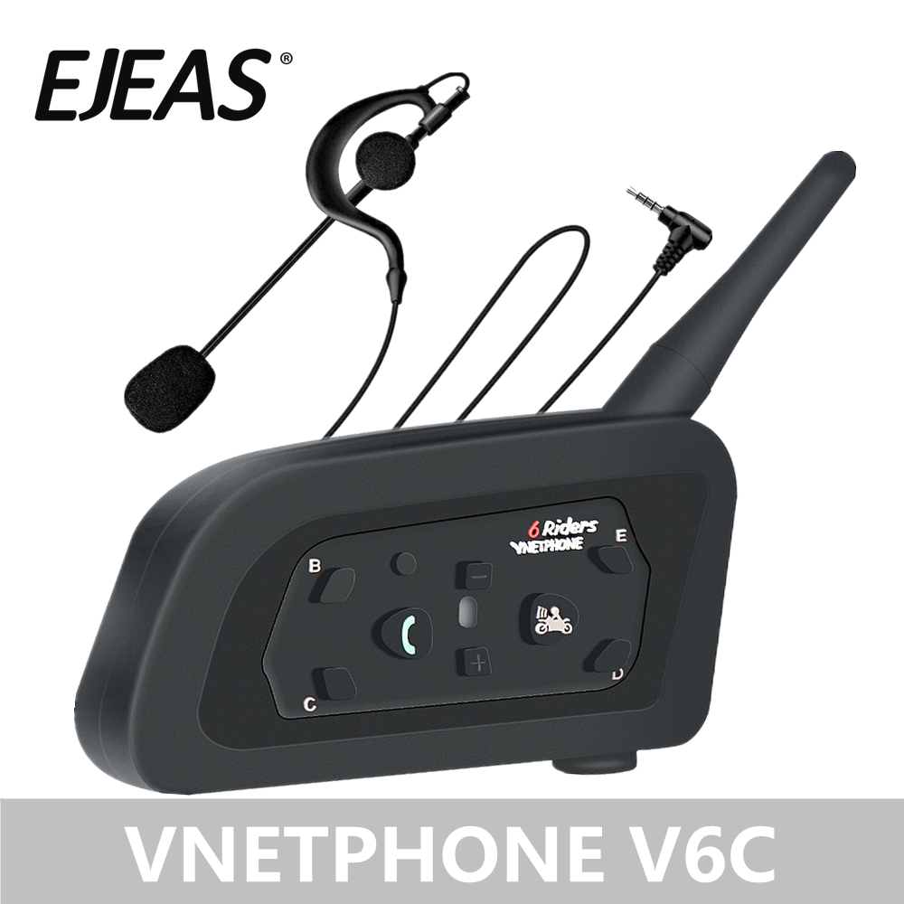 EJEAS Professional Football Referee Intercom Motorcycle Snowmobile Skiing Motorbike Full Duplex 1200M V6C Wireless BT Intercom I