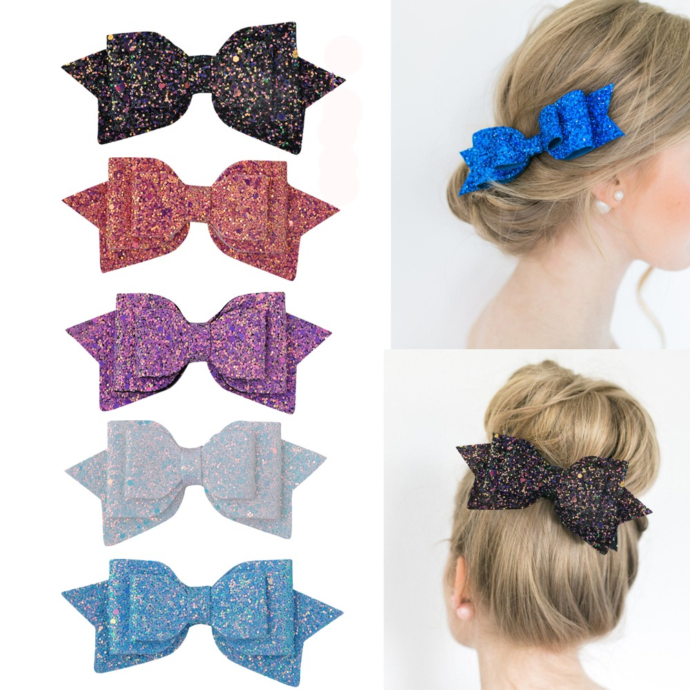 Ruoshui Woman Glitter Hair Bows Girl Hair Pins Bowknot Charming Hair Accessories Baby Hairpins Hair Clips   Headwear   Boutique
