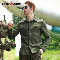 FREE ARMY High Quality Mens Basic Shirts Casual Slim Fit Men Shirt Long Sleeve Green Solid