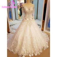 Real Photo Beaded Sequin Appliques A Line Lace Wedding Dress 2017 Weeding Tulle Half Sleeve Long Royal Train Wedding Gown