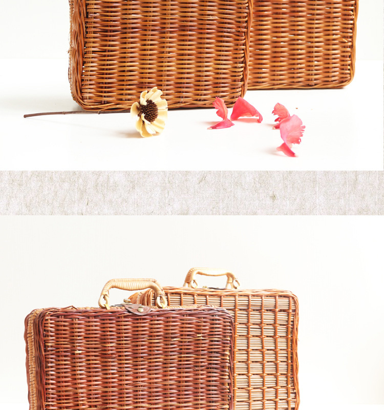 18 Summer Beach Bamboo Bag Straw Women Handbag Handmade Woven Bag Luxury Designer Tote Travel Clutch Lunch Bags snx008 30 OFF 10