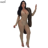 VAZN 2018 New Style Brand Fashion Bodycon   Jumpsuit   Full Sleeve Lace   Jumpsuit   V-Neck Sexy Club Wear Y036