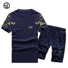 Europe Size Tracksuit Men Sets Male Sweatshirt Pants Summer Men's Cropped T Shirt Shorts Casual Suits Sportswear Mens Clothing(China)