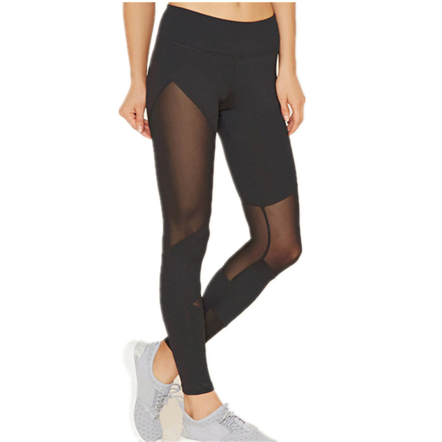 Fashion S-XL Black Woman Leggings Net Yarn Polyester Spandex legging Patchwork Bearthable Mid Waist Push Up Hips Leggings Women