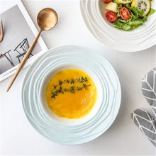 ba490b4e77fd3 KINGLANG Threaded ceramic straw hat dish pasta western steak plate soup  plate vegetable salad plate( · 3 Colors Available