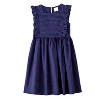 4 To 14 Years Kids Big Girls Fashion Summer Square Collar Cotton Casual Ruffle Flare Dress