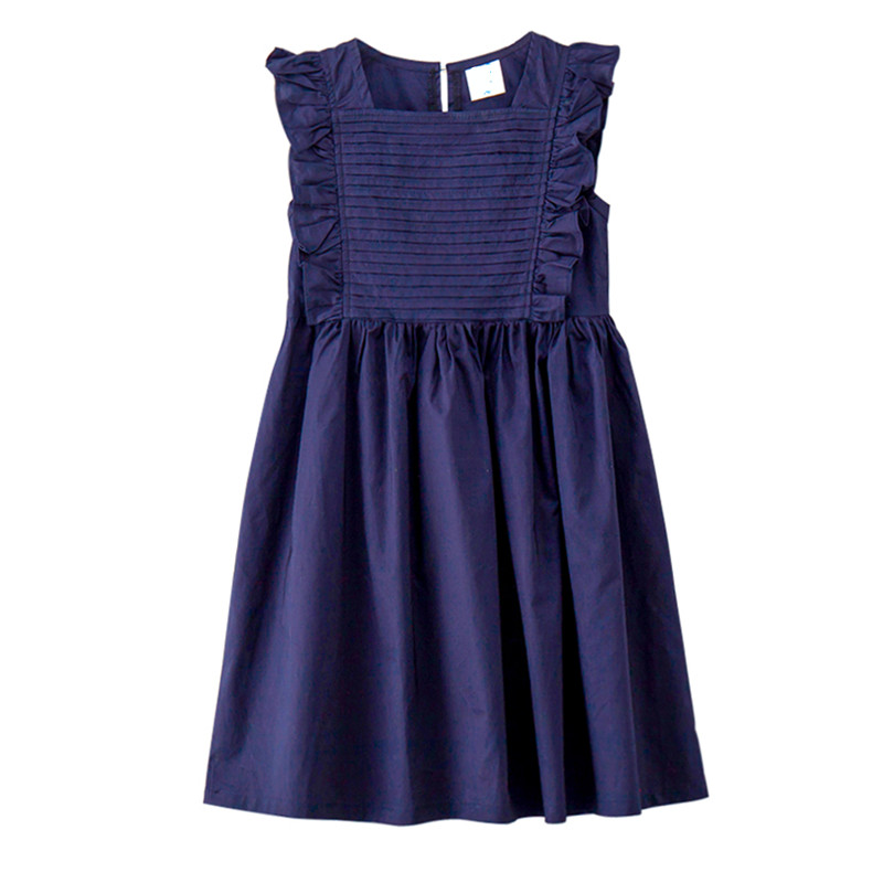 4 to 14 years kids & big girls fashion summer square collar cotton casual ruffle flare dress children daily wear dresses clothes