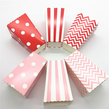 12pcs pink/ red Wave Circles Pattern Folding snack Candy Popcorn Boxes Favor Bags Paper Birthday Party Wedding Gift Bag