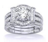 Choucong Wieck Роскошные ювелирные изделия влюбленных Белый AAA CZ цирконий искусственные камни 14KT Золотое заполненное обручальное кольцо для пары