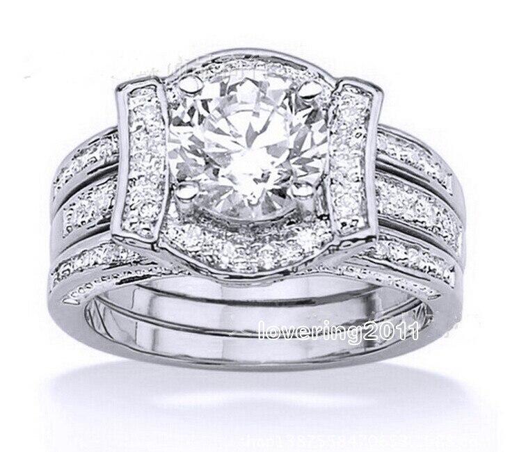 Choucong Wieck Bijoux De Luxe Amoureux Blanc AAA CZ Zircon simulé pierres 14KT Or Rempli Couple Anneau De mariage Taille 5 -10