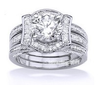 Choucong Wieck Luxury Jewelry Lovers White AAA CZ Zirconia simulated stones 14KT Gold Filled Couple Wedding Ring Set Size 5 10