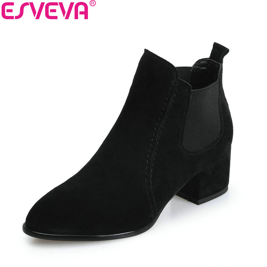 ESVEVA 2018 Women Boots Sweet Style Black Ankle Boots Short Plush/PU Lining Pointed Toe Square High Heel Ladies Shoes Size 34-39 esveva 2018 women boots zippers black short plush pu lining pointed toe square high heels ankle boots ladies shoes size 34 39