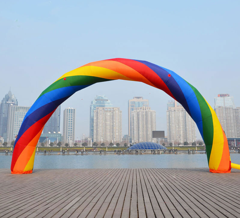Brand New Discount 20ft*10ft D=6M/20ft inflatable Rainbow arch Advertising Fast Free shipping ao058m 2m hot selling inflatable advertising helium balloon ball pvc helium balioon inflatable sphere sky balloon for sale