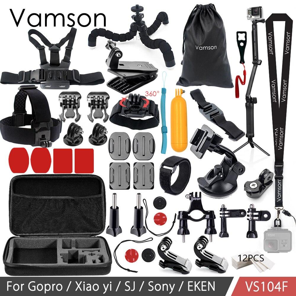 Vamson For Gopro Accessories Set for Eken H9R For Gopro Hero 6 5 4S Mount Selfie stick Tripod For Yi 4K for Mijia Kit VP104F dazzne dz 318 8in1 kit flat mount curved mount 3m stickers for gopro s