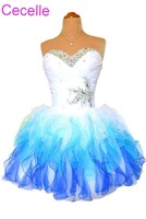 White and Blue Cocktail Dresses 2018 Sweetheart Beading Juniors Lace up Back Short Prom Party Dresses Robe De Cocktail For Girls