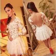 Long Sleeves Backless White Lace Kurze Abendkleider Durchsichtig Homecoming Kleider Cocktailkleid Über Knie Länge