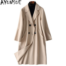 AYUNSUE 2019 Elegants Wool Coats Winter Women Double Breasted Wool Female Jacket Pockets chaquetas invierno mujer 38054 WYQ1426(China)