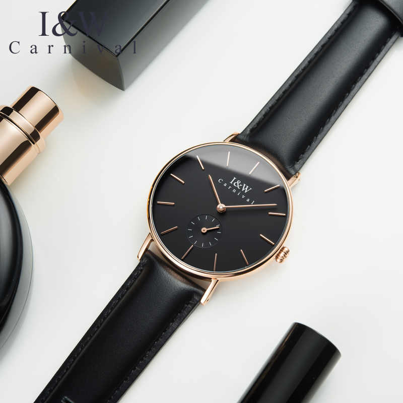 68f95752a434 CARNIVAL Fashion Ultrathin Women Watches Quartz Watch Women Imported Swiss movement  Small second dial Leather strap