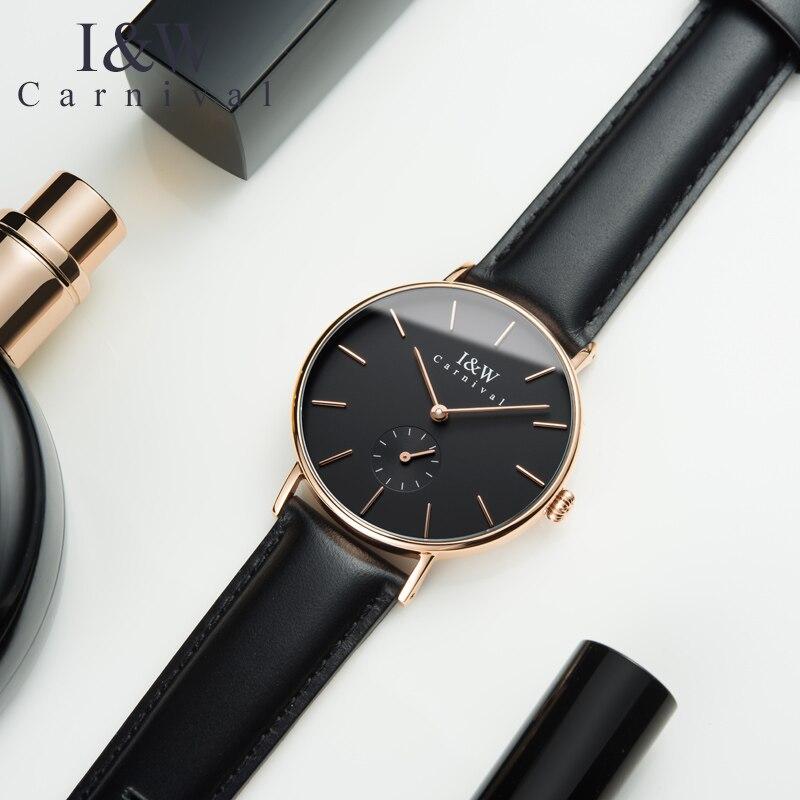 CARNAVAL De Mode Ultra-Mince montres femmes montre quartz femme Importé Suisse mouvement Petite seconde cadran bracelet En Cuir Reloj mujer