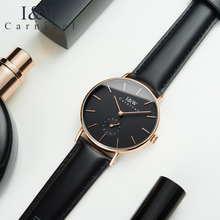 CARNIVAL Fashion Ultrathin Women Watches Quartz Watch Women Imported Swiss movement Small second dial Leather strap Reloj mujer