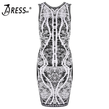 INDRESSME 2017 New Quality Jacquard Sleeveless Midi Bandage Dress Celcebrity Party Dresses Summer Clearence clearance Clearance