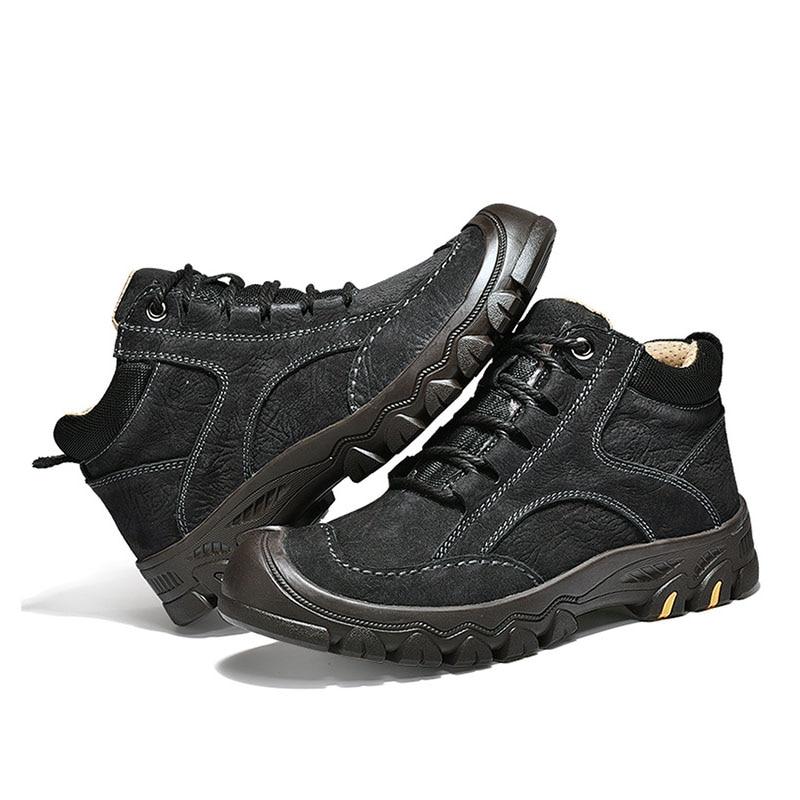 Velours Plus Bottes Haute Coton Bottes Chaussures Noir Plein Air La Chaud  Taille Neige Et En orange De Hommes Cuir Hiver ... 0e9c0a49bae2