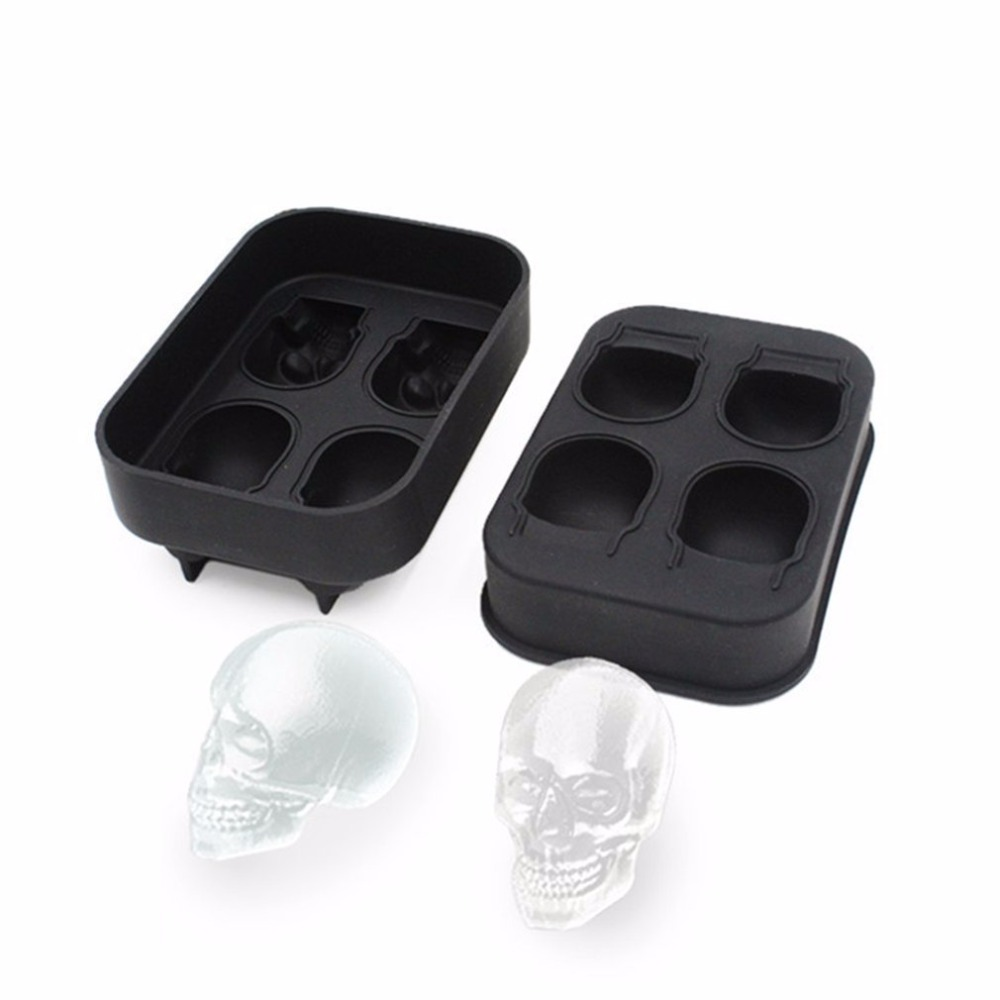 4 Creative Whisky Wine Silicone 3D Ice Ball Cube Tray Skull Shape Mold Chocolate Baking Party Biscuit Cake Chocolate Maker Mould