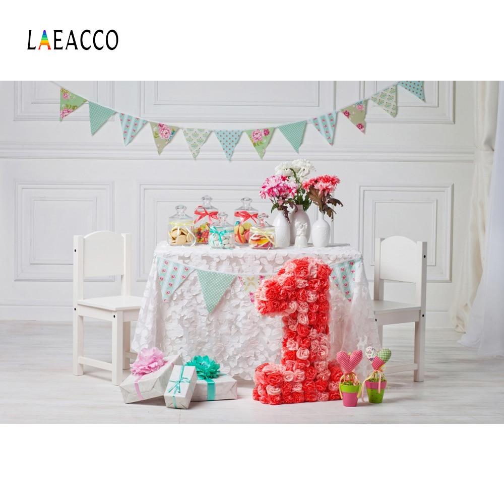 Laeacco Baby 1 Födelsedag Flaska Blomster Inredning Present Flagg - Kamera och foto - Foto 1