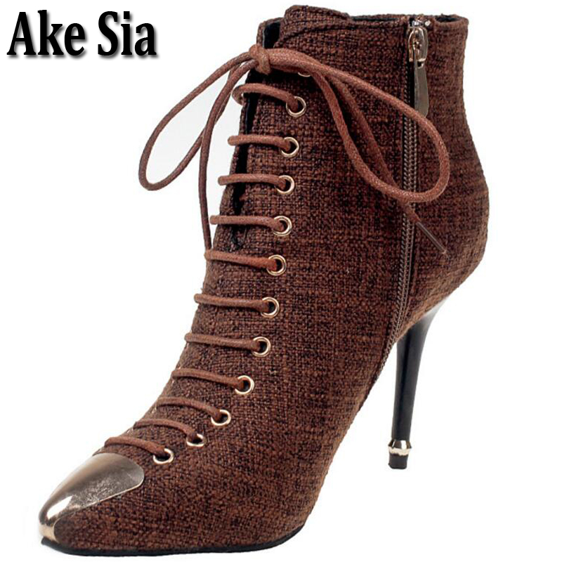 Ake Sia Elegant Graceful Sexy Women's Winter Luxury Metal Pointed Toe Ankle Boots Bottine Stiletto Heel Pump Shoes Booties F236 trendy buckle style cut out thin heel sandal booties sexy pointy stiletto heel ankle boots elegant women burgundy suede booties