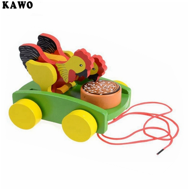 KAWO Children Wooden Chicken Push Toy Rooster Pull Carts Preschool Toddler Toy
