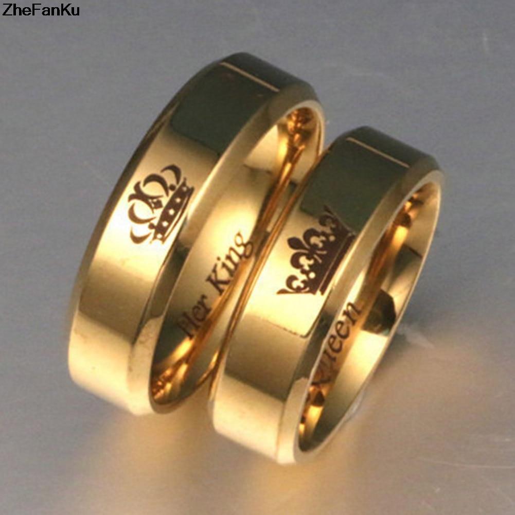 2019 Neuestes Design Paar Ringe Seine Königin Ihr König Engagement Ringe Einfache Edelstahl Gold Ring Für Männer Frauen Mode Dating Schmuck