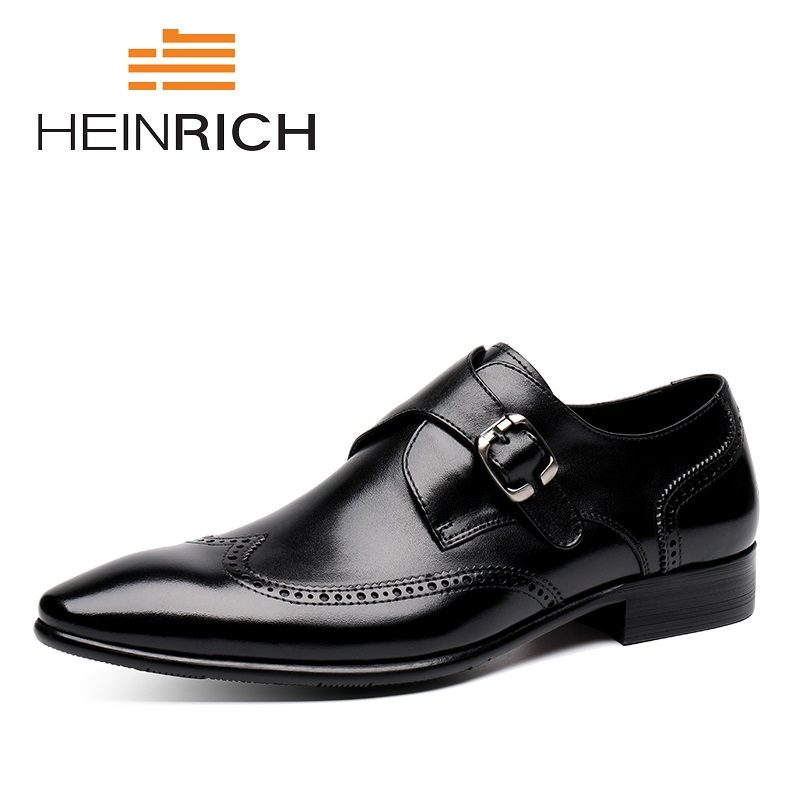 HEINRICH The New Listing Men Shoes Casual Luxury Brand Genuine Leather Formal Dress Buckle Straps Wedding Shoes Erkek Kundura