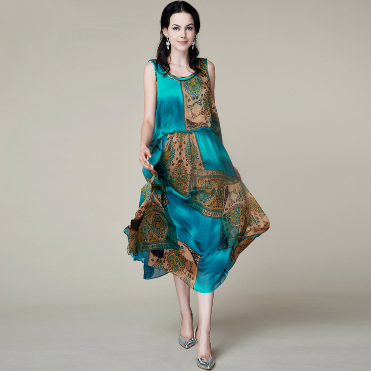 100% Silk Chiffon Dress Natural Silk Women Dress Exclusive Desigual Summer  New Party Dress  5d4e9a29d662