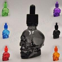 30ml schädel flasche 30ml matt schwarz schädel form glas dropper flasche mit kind proof