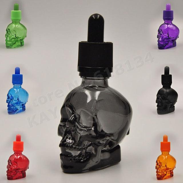 30ml skull bottle 30ml frosted black skull shape glass dropper bottle with child proof