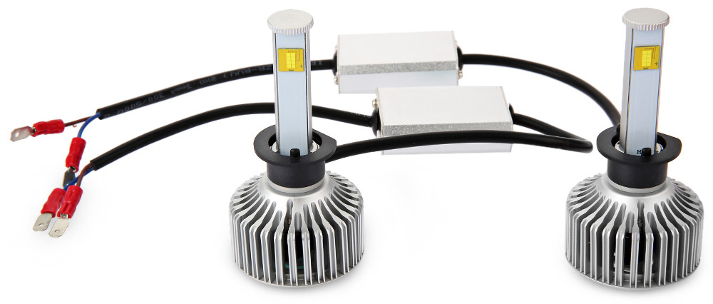 ФОТО Vehicle Front Fog Light All-in-one Conversion Kit Cold White Led H1 6000K X7 LED Headlight Bulb Heat Sink Design High Brightness