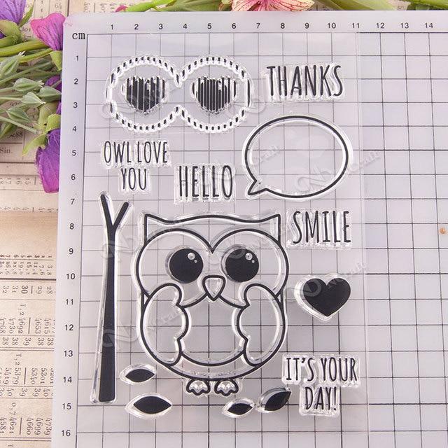 kljuyp owl clear stamps scrapbook paper craft clear stamp