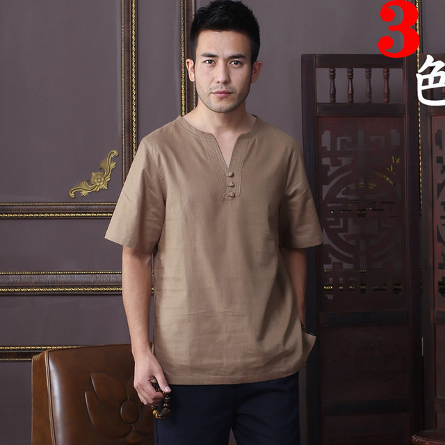 Summer New Fashion Coffee Tradition Chinese Men's Cotton Linen Kung-Fu Short Sleeve Shirt Tang Suit M L XL XXL XXXL D06