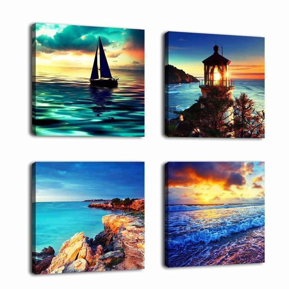 Canvas Posters Home Decor Wall Art Framework 4 Pieces Sunset Lighthouse Sea Waves Seascape Paintings Living Room Prints Pictures
