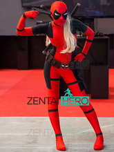 Actual Photo Lady Deadpool Cosplay Costume Red Black Spandex Girl Women Female Deadpool Superhero Zentai Bodysuit