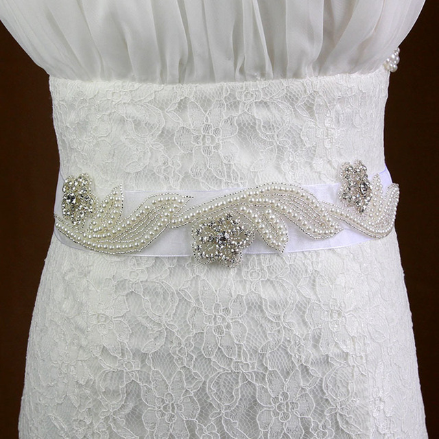 White Wedding Belt with Pearls Handmade Long Sash Women Bridal Dress Accessories DIY Pearl Beads Sash Free Shipping In Stock
