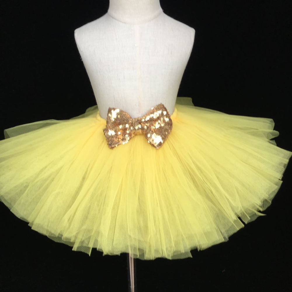 Cute Baby Yellow Tutu Skirt Infant Girls Fluffy Tulle Pettiskirts with Gold Sequin Bow Kids Birthday Party Tutus Summer Skirts