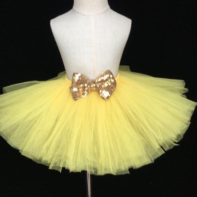 0688d1154 Lindo bebé amarillo falda de tutú infantil Niñas tulle mullido Petti Faldas  con oro lentejuelas arco