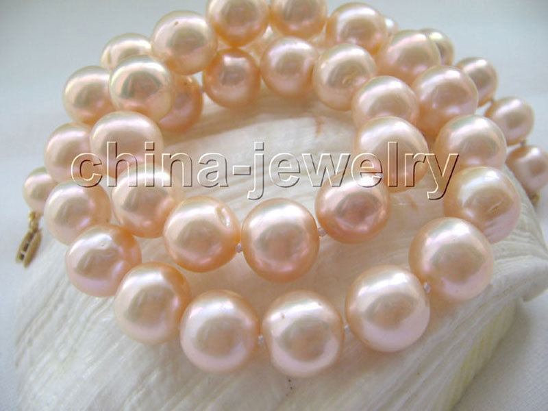 P4430 - AAA 17.5 9-10mm natural pink perfect round freshwater pearl necklace - P4430 - AAA 17.5 9-10mm natural pink perfect round freshwater pearl necklace -