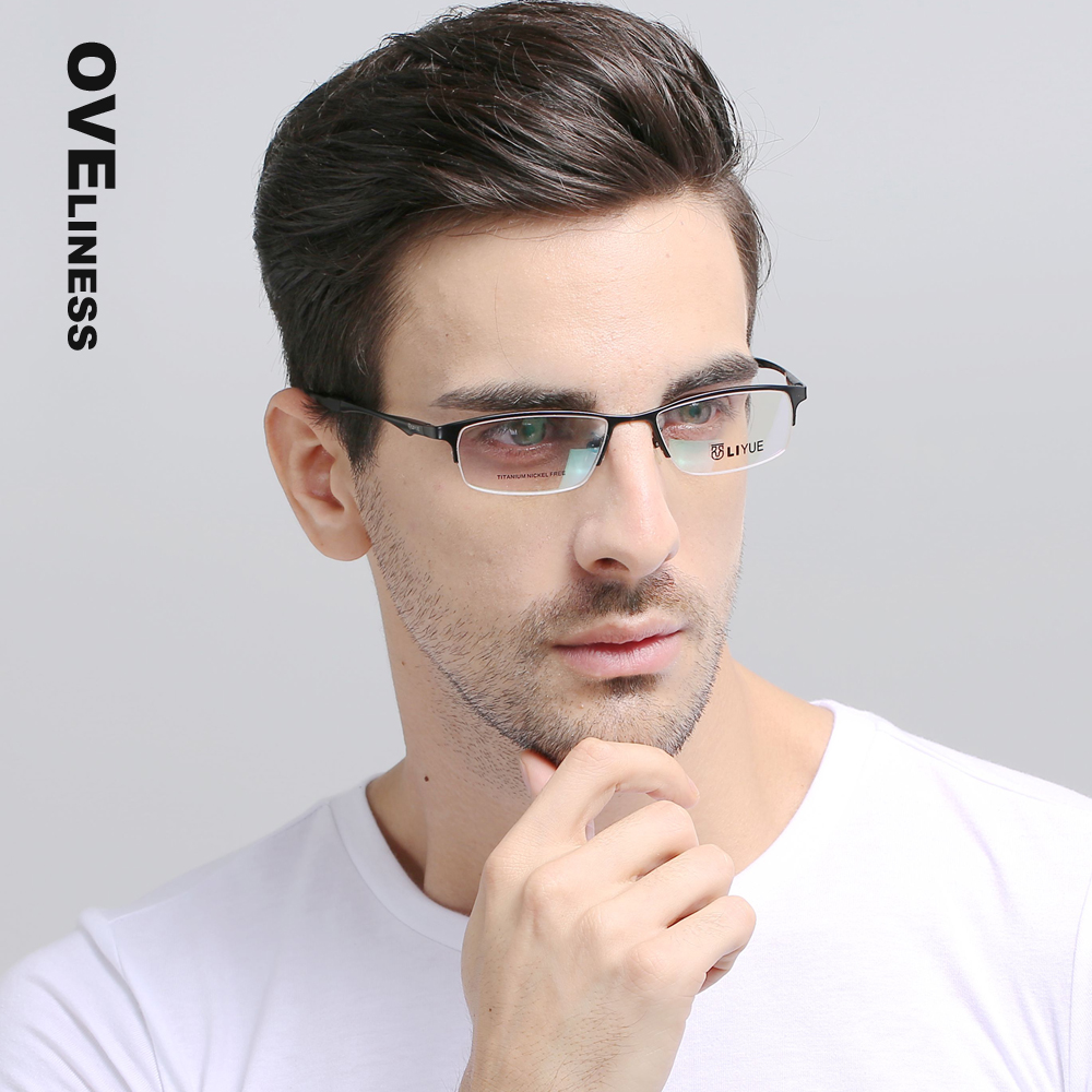 pure titanium eyeglasses frames men optical glasses half rim eye glasses frames for men prescription spectacles eyewear