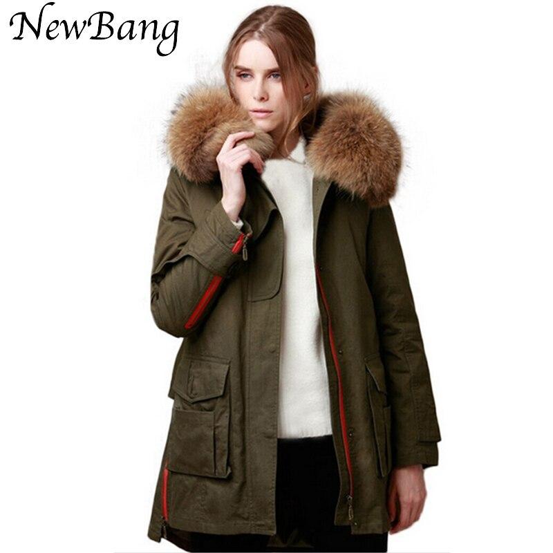 80*23 см реального большой енота меховой воротник Армейский зеленый Парка утепленная съемный вкладыш хлопка Мужские парки зимняя куртка Для