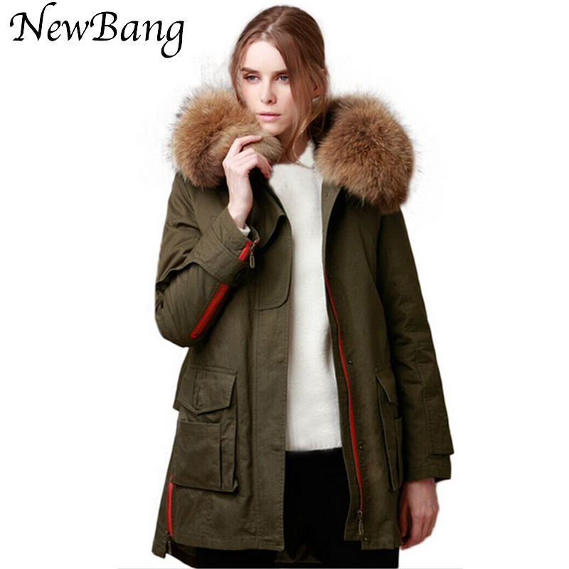 80*23 CM  Real Large Raccoon Fur Collar Army Green Parka Thicken Detachable Cotton Liner Parkas Winter Jacket Women new 2017 jott jacket winter women parka long coat large real raccoon fur collar faux rabbit fur liner army green casual outwear