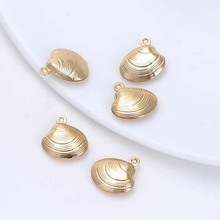 6PCS 18.5x19MM 24K Champagne Gold Color Plated Brass Shell Charms Pendants High Quality Diy Jewelry Accessories