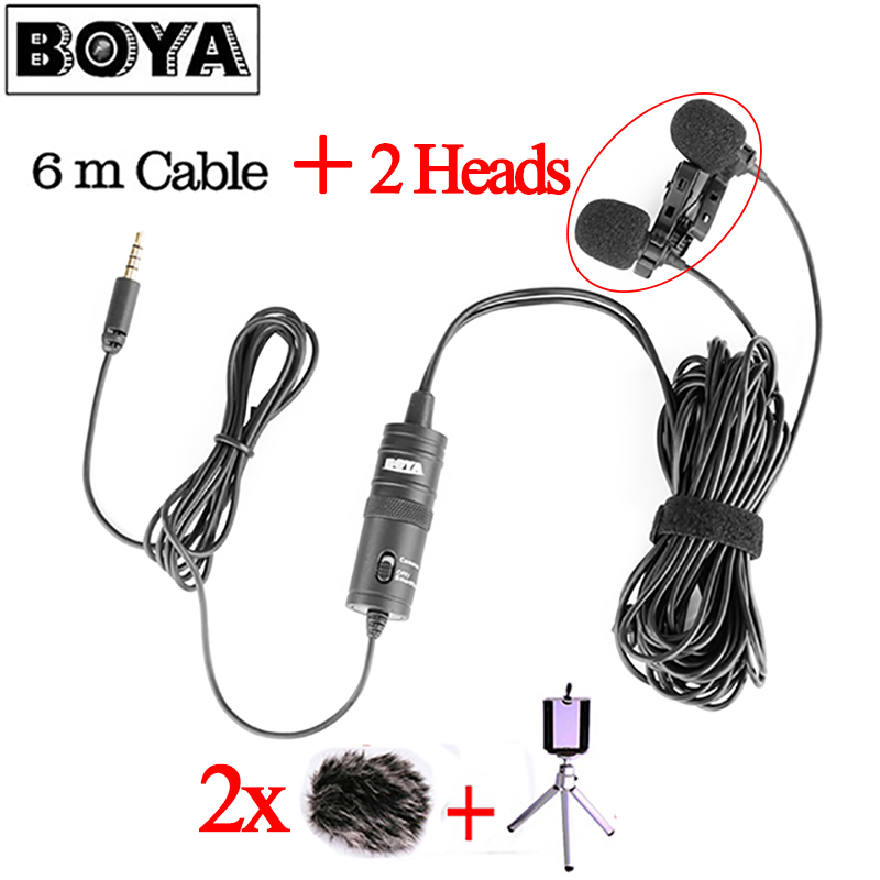 NEW BOYA BY-M1DM Dual Head Lavalier Condenser Microphone Audio Record for iPhone Andriod DSLR Canon Nikon Camcorder VS BY-M1